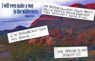 a postcard that says My pastor always talks about how if people would find God they wouldn't need pills. I'm bipolar but I took his advice–my pastor is an idiot