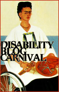 picture of frida kahlo sitting in a wheelchair with a paintbrush and heart in her lap. over it says Disability Blog Carnival
